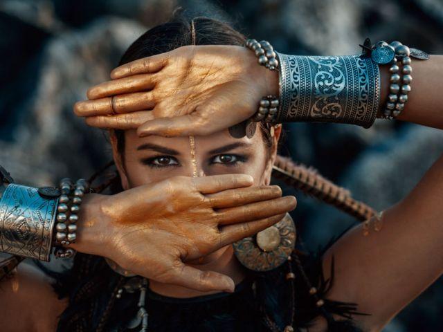 tribal woman posing outdoors